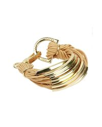 Saachi - Metallic Nude Gold Bar String Bracelet - Lyst