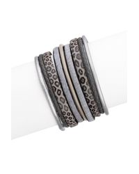 Saachi | Black Gunmetal Braided Multi-cord Leather & Faux Hair Bracelet | Lyst