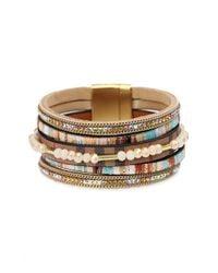 Saachi - Metallic Beaded Leather Bracelet - Lyst