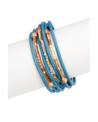 Saachi - Blue Teal Twisted Crystal Leather Bracelet - Lyst