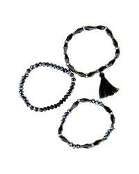 Saachi - Black Nisha Beaded Stretch Bracelet - Set Of 3 - Lyst