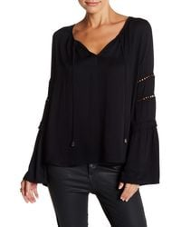 Love Stitch - Black Detail Sleeve Blouse - Lyst