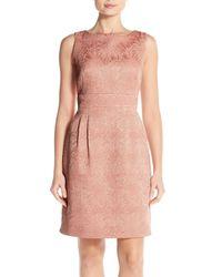 Tahari - Pink Jacquard Sheath Dress (regular & Petite) - Lyst
