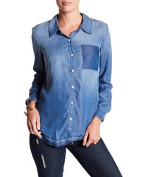 Splendid - Blue Chambray Raw Edge Shirt - Lyst
