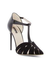 Giorgio Armani - Black Cutout T-strap D'orsay Stiletto Pump - Lyst