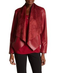 Kut From The Kloth - Red Ana Faux Leather Drape Front Jacket - Lyst