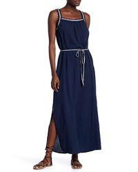 Moon River - Blue Tie Accent Waist Sleeveless Dress - Lyst