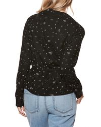 PAIGE - Black Romana Star Print Wrap Blouse - Lyst