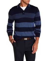 Brooks Brothers - Blue Mock Neck Long Sleeve Merino Wool Striped Sweater for Men - Lyst