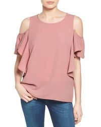 Bobeau - Pink Cold Shoulder Ruffle Sleeve Top (regular & Petite) - Lyst