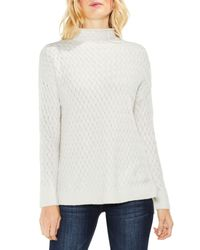 Two By Vince Camuto - White Cable Mock Neck Sweater - Lyst