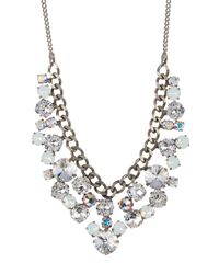 Sorrelli | White Round Crystal Cluster Bib Necklace | Lyst