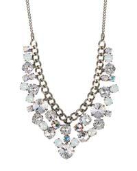 Sorrelli - White Round Crystal Cluster Bib Necklace - Lyst