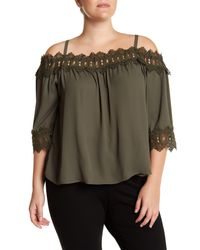 Breathless - Green Off-the-shoulder Crochet Trim Blouse (plus Size) - Lyst