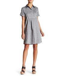 Max Studio - Gray Short Sleeve Button Up Shift Dress - Lyst