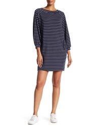 Max Studio | Blue Long Sleeve Striped French Terry Dress | Lyst
