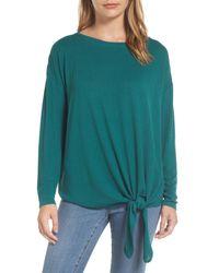 Caslon - Green Caslon Tie Front Sweatshirt - Lyst