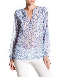 Casual Studio - Blue Patten Ladder Detail Blouse - Lyst