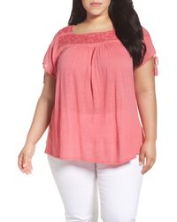 Lucky Brand | Pink Embellished Yoke Top | Lyst