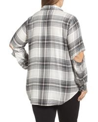 Two By Vince Camuto - Gray Cold Elbow Linearscape Plaid Shirt (plus Size) - Lyst