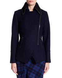 Trina Turk - Blue Abbey Faux Leather Trim Wool Blend Coat - Lyst