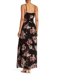 West Kei - Black Floral Gauze Maxi Dress - Lyst