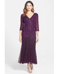 Pisarro Nights - Purple Dropped-Waist Beaded Mesh Dress - Lyst