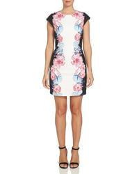 Cece by Cynthia Steffe - Black Colorblock Floral Sheath Dress - Lyst