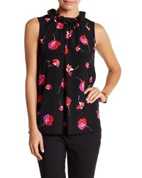 Cece by Cynthia Steffe | Black Sleeveless Floral-print Top | Lyst