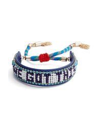 Rebecca Minkoff - Blue 'we Got This' Leather Friendship Bracelet - Lyst
