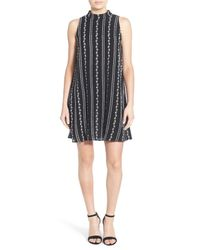 Way-in   Multicolor Embroidered Mock Neck Shift Dress   Lyst