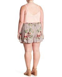 Angie - Gray Double Layer Floral Shorts (plus Size) - Lyst