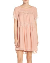 French Connection | Pink Lace Chiffon Babydoll Dress | Lyst