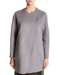Tibi | Brown Reversible Wool & Angora Car Coat | Lyst