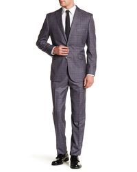 English Laundry - Gray Windowpane Two Button Peak Lapel Trim Fit Suit for Men - Lyst