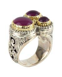Konstantino - Metallic Sterling Silver & 18k Gold Frame Amethyst Round Triple Ring - Size 7 - Lyst