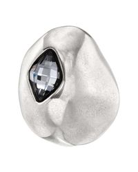 Uno De 50 - On The Moon Gray Swarovski Crystal Accented Shield Ring - Lyst