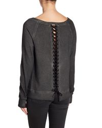 Pam & Gela - Black Lace-up Back Sweatshirt - Lyst