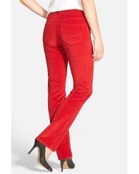NYDJ - Red 'marilyn' Stretch Straight Leg Corduroy Pants - Lyst