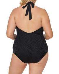 Jessica Simpson - Black Halter One-piece Swimsuit (plus Size) - Lyst