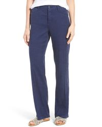 NYDJ - Blue 'wylie' Five-pocket Linen Trousers - Lyst