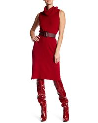 Philosophy Apparel | Red Sleeveless Cashmere Cowl Neck Midi Dress | Lyst