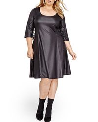 Addition Elle - Black Lace-up Swing Dress (plus Size) - Lyst
