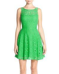 BB Dakota Green 'renley' Lace Fit & Flare Dress
