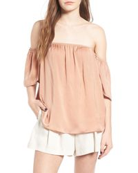 Madison & Berkeley | Pink Off The Shoulder Top | Lyst