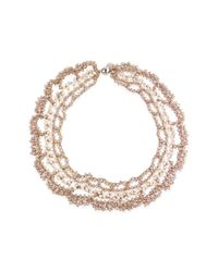 Saachi - Natural Champagne Floral Crochet Necklace - Lyst