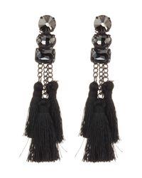 Shashi - Black Sweda Crystal Tassel Drop Earrings - Lyst