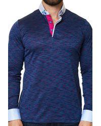 Maceoo - Long Sleeve Melange Purple Polo for Men - Lyst