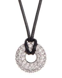 Swarovski - White Swaorvski Crystal Accented Wrapped Hoop Pendant Necklace - Lyst