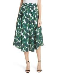 MILLY Green Jackie Pleated Printed Stretch-cotton Midi Skirt